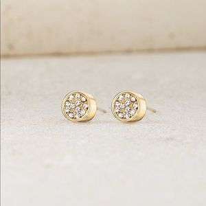 Chloe + Isabel Pavè Circle Stud Earrings Gold